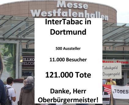 Tabakmesse InterTabac in Dortmund/ Grüne Bundespartei spricht sich gegen Nutzung der Westfalenhallen aus