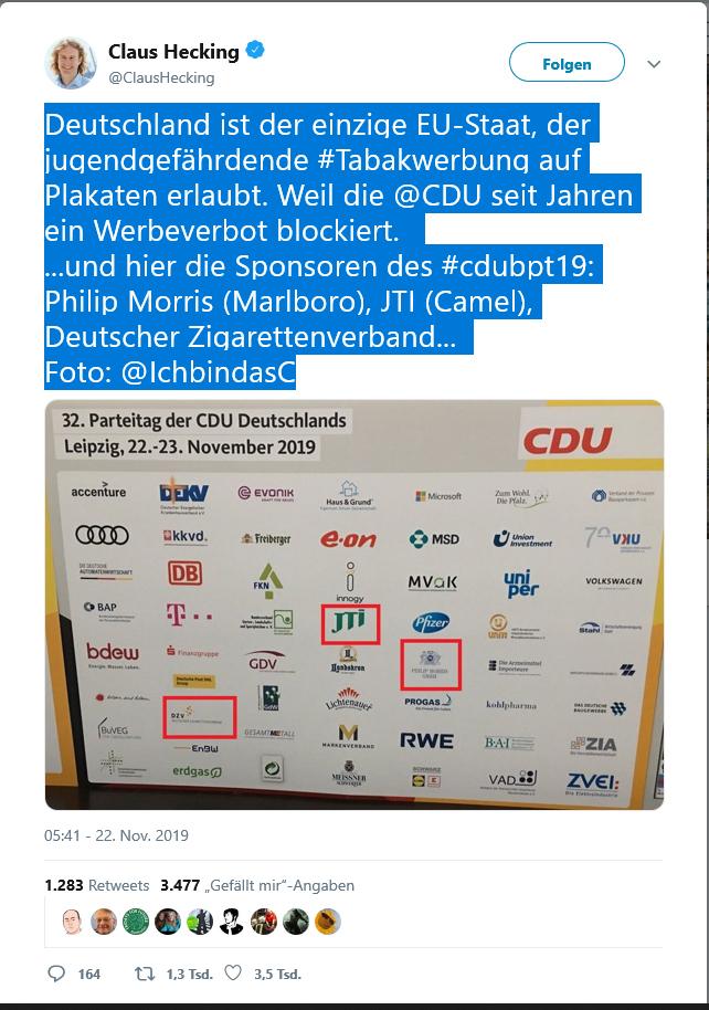 Deutschland ist der einzige EU-Staat, der jugendgefährdende #Tabakwerbung auf Plakaten erlaubt.