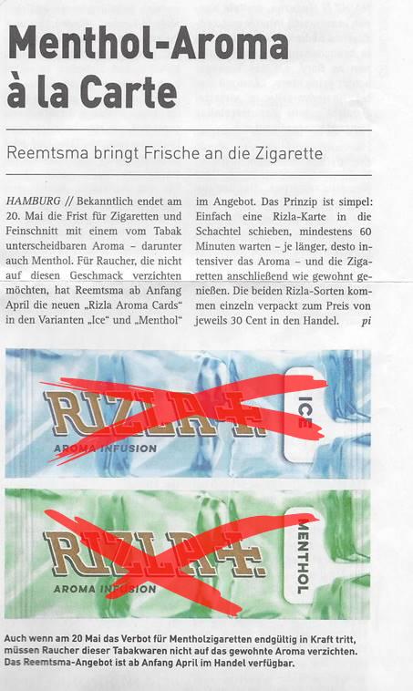 Reemtsma umgeht Verbot von Menthol-Zigaretten